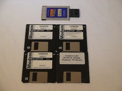 Creative Labs 28.8 Modem Blaster PCMCIA PC Card w/ Adapter + Floppy Disks Rare!