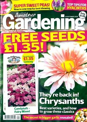 AMATEUR GARDENING MAGAZINE ISSUE 29th SEPTEMBER 2018 WITH FREE SEEDS ~ NEW ~
