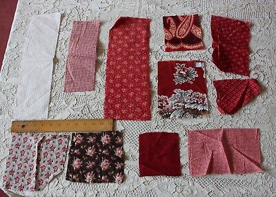 11 Pieces Of French c1870 Turkey Red Cotton Fabrics~Bandana Design