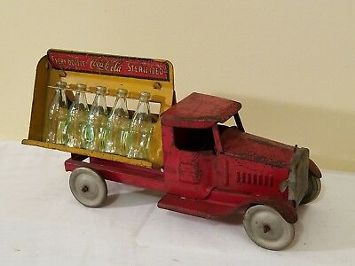 Vintage 1920's/30's Metalcraft Coke-Cola Bottle Truck Pressed Metal Early Toy