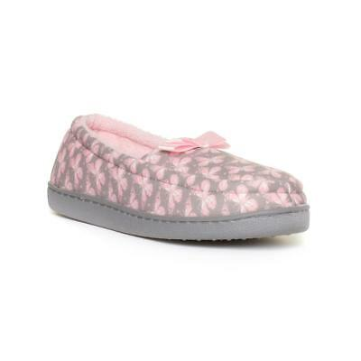 The Slipper Company Womens Grey & Pink Moccasin - Sizes 2,3,4,5,6,7,8