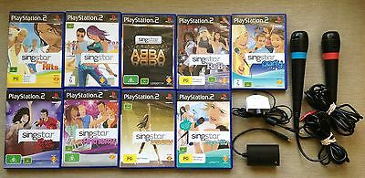 Ps2 9 Singstar Games+ Microphones, Converter, Camera- Sing Star R&b Anthems Abba