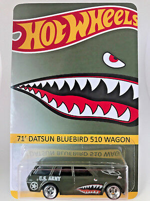 Custom Die Cast Hot Wheels ARMY GREEN & SHARK DATSUN BLUEBIRD WAGON REAL RIDER