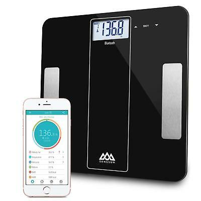 Senssun Bluetooth Smart Body Fat BMI Weighing Scale Analyzer IOS Android - Black