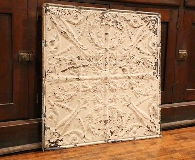 "Antique Metal Tin Ceiling Tile 24""X24"" shabby chic gothic Torch Reclaim Salvage"