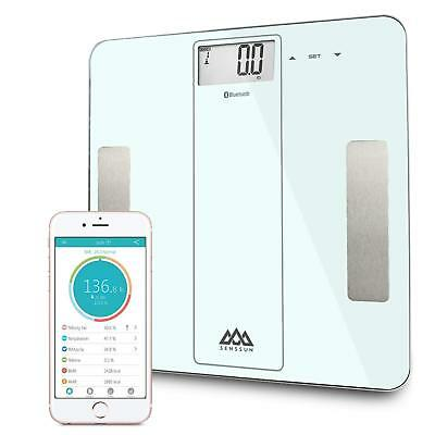 Senssun Bluetooth Smart Body Fat BMI Weighing Scale Analyzer IOS Android - White