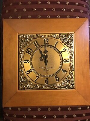 Vintage General Electric Wall Clock Wood Brass Square Retro