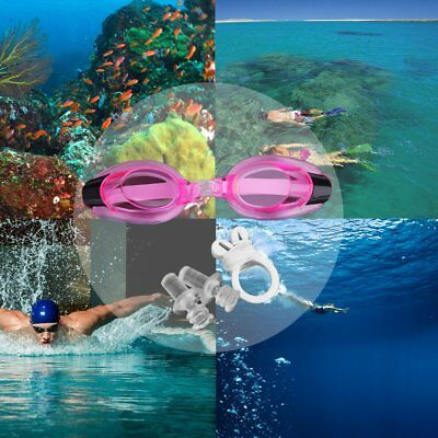 Anti Fog UV Swimming Goggles Adjustable Glasses With Nose Clip+Ear Plug F2