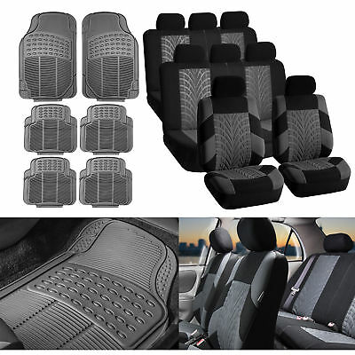 Gray Seat Cover for 3row SUV VAN with Gray Heavy Duty Floor Mats 8 Seaters