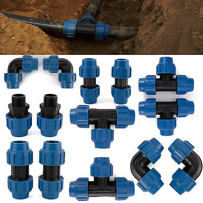 Pack of 2 MDPE Plastic Compression Fittings For Water Pipe 25/32mm