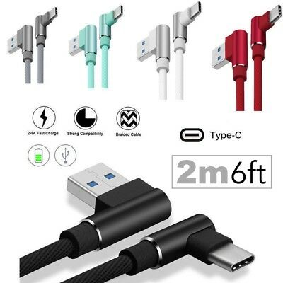 USB-C Type-C 6FT NYLON BRAIDED ROPE 90 Degree L Charger FAST CHARGING Cable Cord