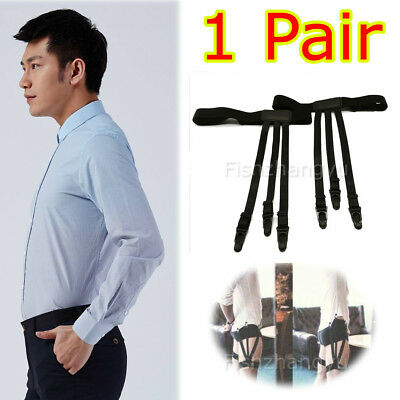 2pcs Men Shirt Stays Holder Garters Suspenders Military Uniform Non-slip Locking