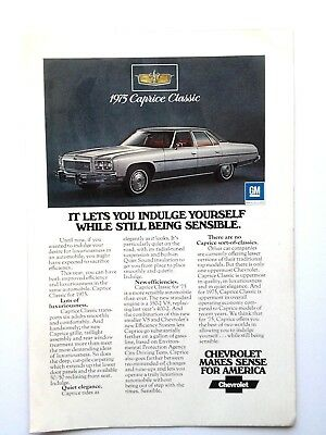 1975 Chevrolet Caprice Classic Vintage Original Print Ad GM Chevy