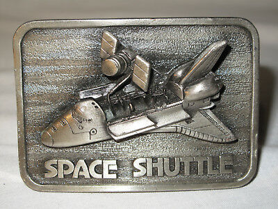 "Vintage Space Shuttle Belt Buckle 1980 Heavy Pewter ""The Buckle Connection"" USA"