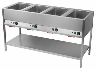 Bain Marie Station, 4x Sink for 1/1 Gn, 1600x600x900 mm Food Warmer Water Bath