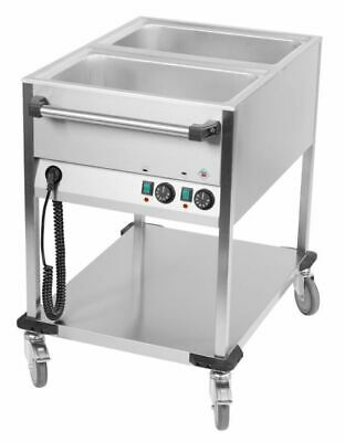 Bain Marie Wagon, 650x900x900 mm, 2x Sink for 1/1 Gn, Water Bath Food Warmer