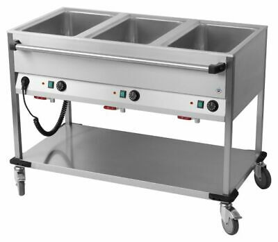 Bain Marie Wagon, 1250x700x900 mm, 3x Sink for 1/1 Gn, Food Warmer Water Bath