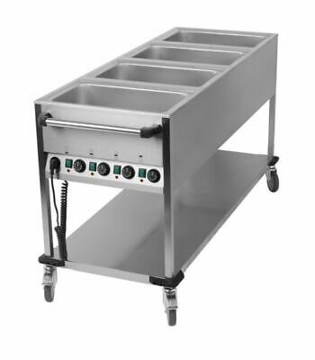 Bain Marie Wagon, 4x Sink for 1/1 Gn, 650x1700x900 mm Food Warmer Water Bath
