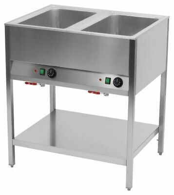 Bain Marie Station, 2x Sink for 1/1 Gn, 800x670x900 mm, Food Warmer Water Bath