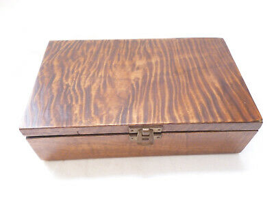 VINTAGE TRINKET or JEWEL BOX - TIGER GRAINED VENEER TIMBER LID