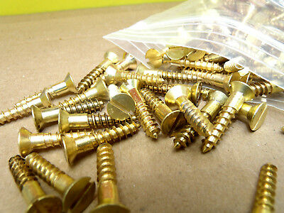 """227 Pieces 10 x 1"""" Solid Brass Slotted Flat Head Wood Screws # 10x1"""" NOS"""