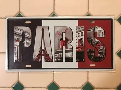Paris Scenery in Letters sign pressed metal decor item Free post