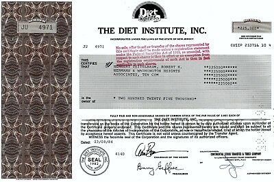 The Diet Institute Inc., New Jersey, 1984 (225.000 Shares) !