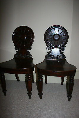 Pr. Possibly Irish Mahogany Georgian / Regency Hall Chairs Late18th /Early19th C