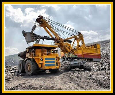 Truck and Excavator Mining Cotton Quilting Fabric Panel