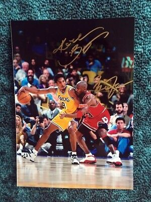 hand signed Kobe Bryant Michael Jordan autographed photo 5*7 autographs limited