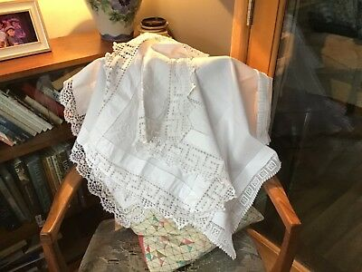 3 large Vintage lace edged tray cloths