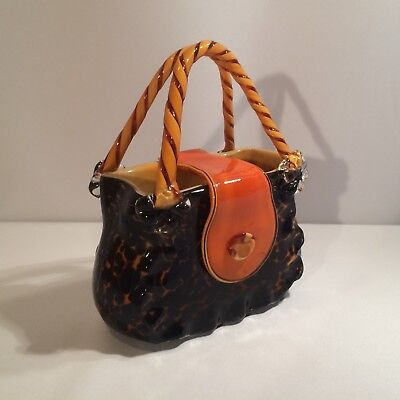 Vintage Large Vincenza Murano Italian Glass Purse Vase Hand Blown/crafted