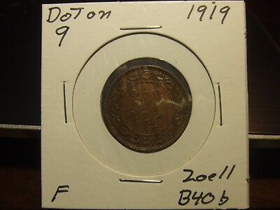 CANADA ONE CENT 1919 Dot on 9, super FINE coin !!!