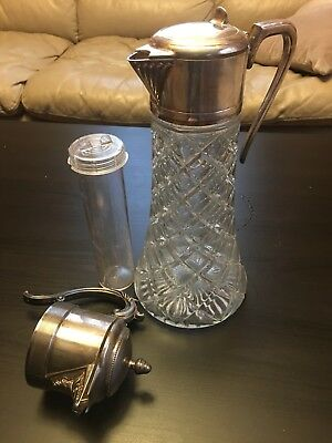 "Antique 12"" Glass Pitcher/Carafe w/Silver-Plate Handle w/ Ice Insert/Extra Lid"