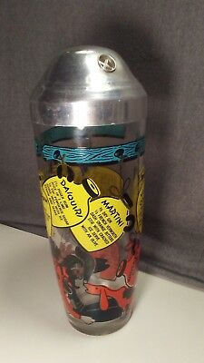 """Antique Vintage 1950's Liquor Whino Cocktail Recipe Glass 10"""" Shaker Metal Top"""