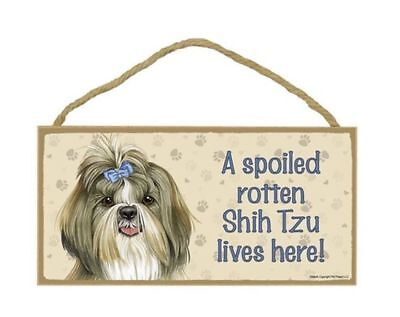 """Shih Tzu with Bow Spoiled Rotten Lives Here Sign Plaque Dog 10"""" x 5"""" Wood Gift"""