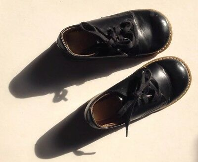 Vintage Child's USA Stitched Black Toddler Leather Foot-Mates Shoes/Sole