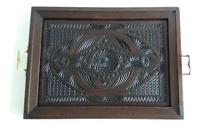 Large Antique Dutch Frisian Chip Carved Wood Serving Tray Solid Brass Handles