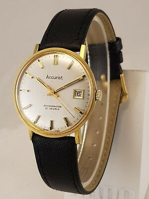 Gent's Vintage Swiss Accurist Shockmaster 21 Jewel Eta 2409 Gp Wristwatch