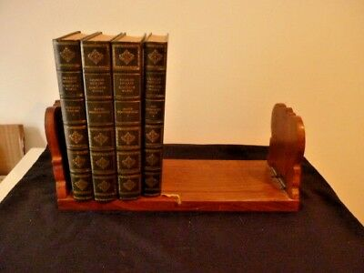 Vintage Carved Wooden Sliding Book Or Cd Rack With Brass Inlay