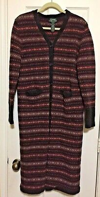 05ac29a4e RALPH LAUREN Cardigan 100% Wool Long Southwest Indian Blanket Sweater Coat  Large