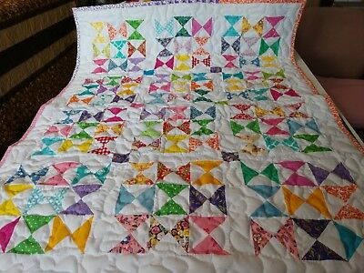 Handmade Pieced Scrappy Hourglass Boy Girl Baby Crib lap Quilt Throw Blanket
