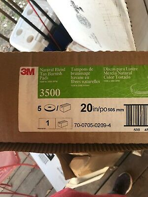 """3M Tan 3500 20"""" Burnish Pads Sanding Buffing Cleaning Floors  - Box Of 4"""