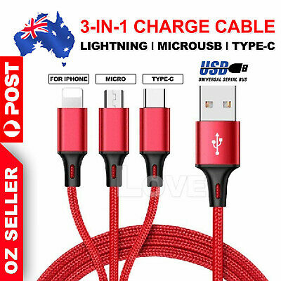 3in1 Multi USB Charger Charging Cable Cord For iPhone TYPE C Android Micro USB