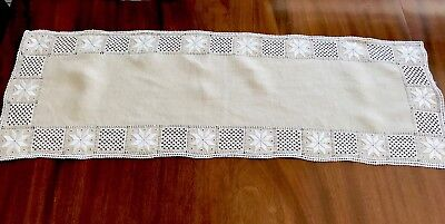 Vintage Hand Embroidered Lefkara Cream Linen Table Centre Runner Cloth 33x11""