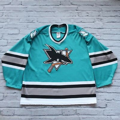 ce30ec266 Vintage 90s San Jose Sharks Hockey Jersey by CCM Made in USA Size L Teal