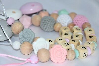 Personalised  Wooden Girls Dummy Clip Pacifier/Dummy Chain Baby Gift/Silicone