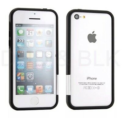 Case For Apple iPhone 5c Protective Hard Rubberized PC Bumper Case Cover Black