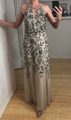 Adrianna Papell Floral Beaded Gown 4800 Picclick