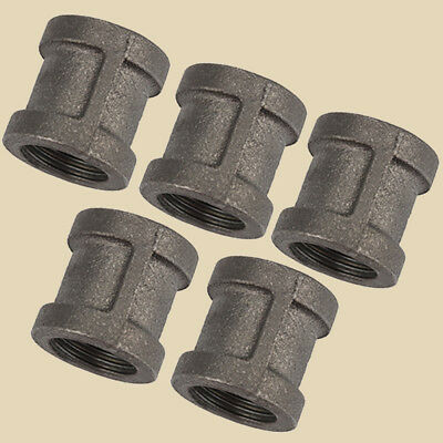 """LOT OF 5- 1/2"""" BLACK MALLEABLE IRON STRAIGHT COUPLING Fitting Pipe NPT"""
